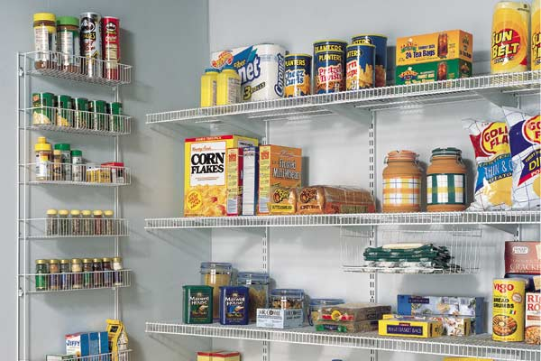 Wire shelving in pantry